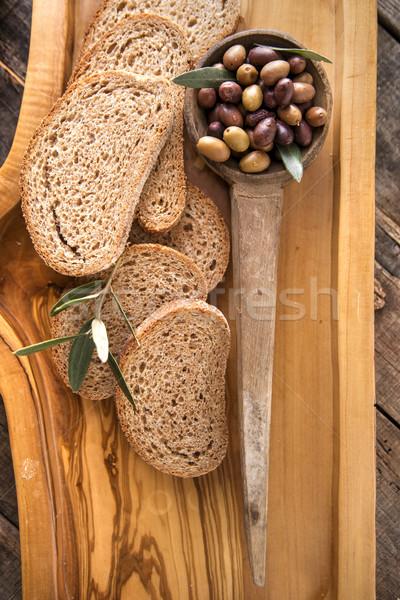 Ekmek zeytin karışık Toskana İtalya meyve Stok fotoğraf © Fotografiche