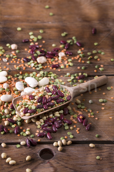 Gemengd zaden peulvruchten zaad lepel oude Stockfoto © Fotografiche