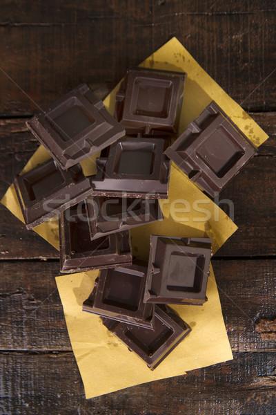 Pure chocola presentatie houten tafel voedsel chocolade Stockfoto © Fotografiche