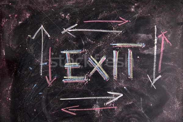 Kijárat ikon rajzolt kréta iskolatábla szimbólum Stock fotó © Fotografiche