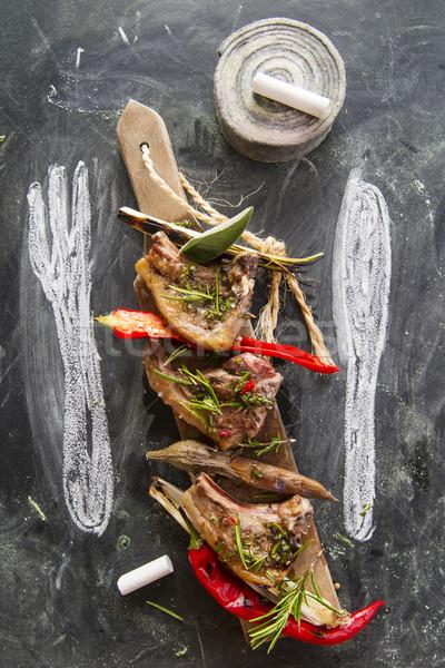 Agneau cuit grill poireau rouge poivre Photo stock © Fotografiche
