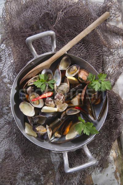 суп морепродуктов чеснока петрушка продовольствие рыбы Сток-фото © Fotografiche