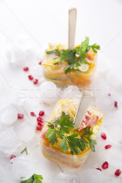 Sincelo cítrico misto apresentação romã salsa Foto stock © Fotografiche