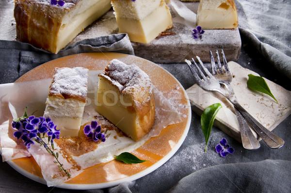 Varázslatos torta puding vanília étel eszik Stock fotó © Fotografiche