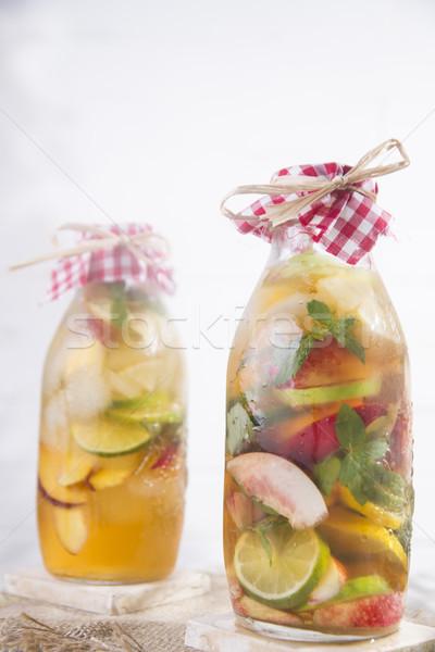 Infusão chá pêssego limão garrafa fruto Foto stock © Fotografiche