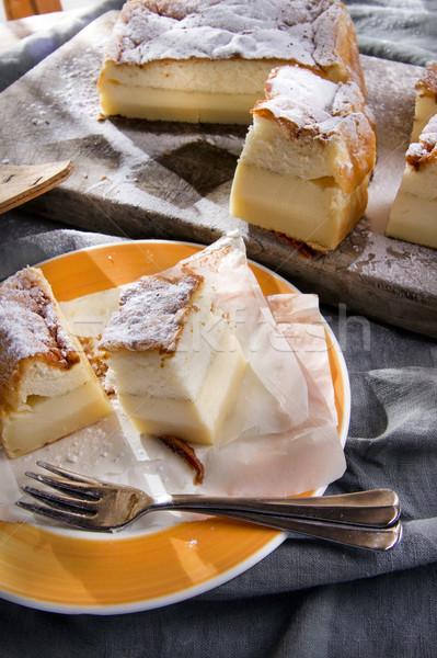 Kek puding vanilya gıda yeme Stok fotoğraf © Fotografiche