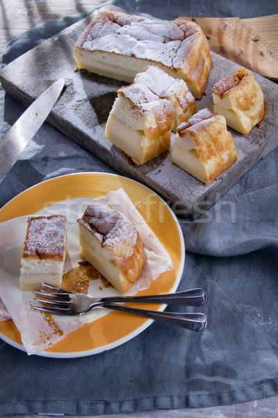 Kek puding vanilya yeme kutlama Stok fotoğraf © Fotografiche