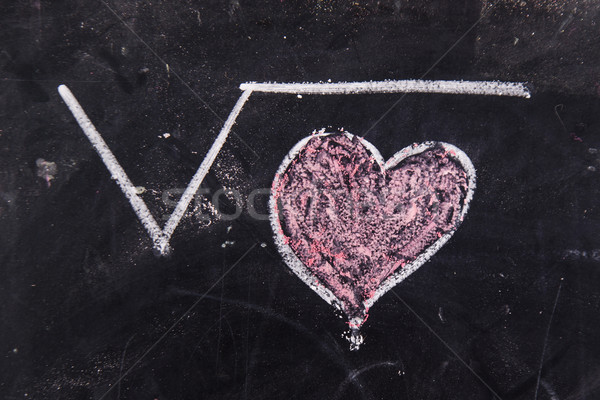 Stockfoto: Liefde · krijt · Blackboard · gelukkig · abstract · hart