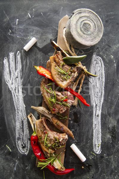 子羊 調理済みの グリル リーキ 赤 唐辛子 ストックフォト © Fotografiche
