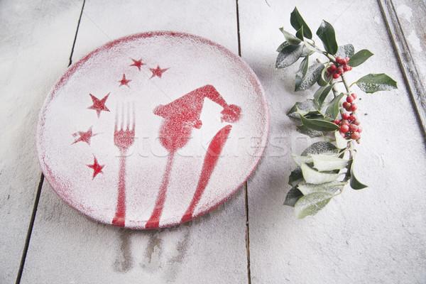 Noel kırmızı plaka tatil çatal bıçak takımı yemek Stok fotoğraf © Fotografiche