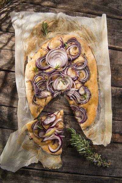 Focaccia with red onion Stock photo © Fotografiche