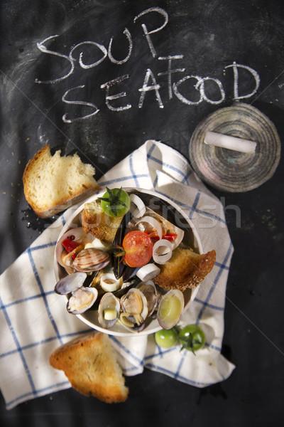 Soupe fruits de mer présentation noir écrit alimentaire Photo stock © Fotografiche