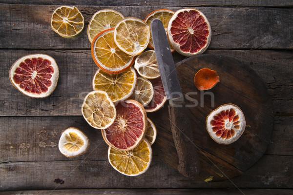 Rebanadas secado agrios establecer diferente frutas Foto stock © Fotografiche