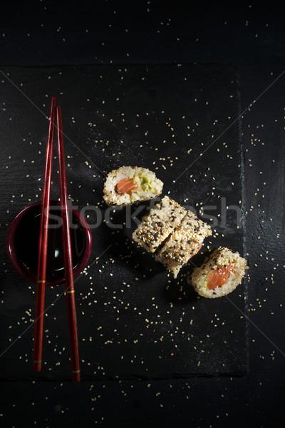 Sushi schotel eetstokjes presentatie plaat zwarte Stockfoto © Fotografiche