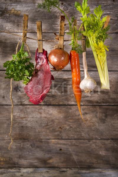Marhahús húsleves hozzávalók előkészítés háttér zöld Stock fotó © Fotografiche