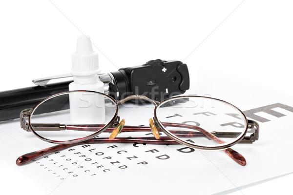 Examen de la vista gafas botella ojo gotas visión Foto stock © fotoquique