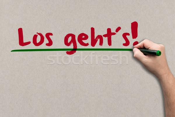ここで 紙 男 書く 壁 ビジネス ストックフォト © fotoquique