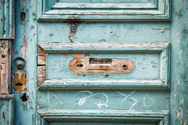 öreg ajtó kék fából készült bejárati ajtó Stock fotó © fotoquique