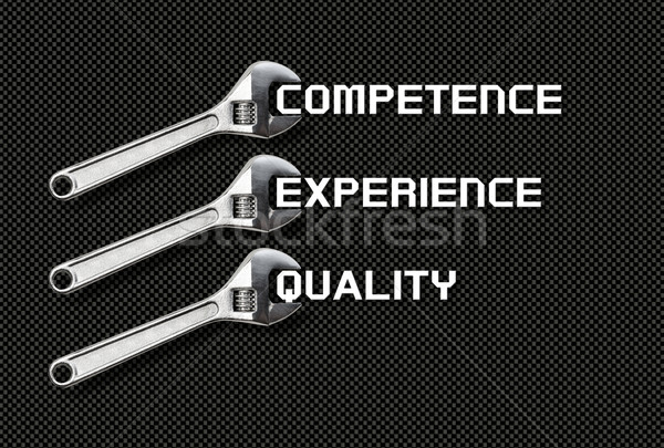 Wrench holds lettering quality, competence, experience Stock photo © fotoquique