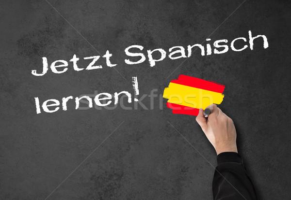 Foto stock: Aprendizagem · espanhol · agora · homem · professor · parede