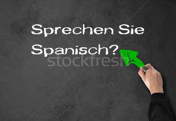 男 話す スペイン語 壁 ビジネスマン グレー ストックフォト © fotoquique