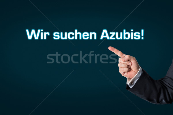 Business man pointing at the words We search employees Stock photo © fotoquique