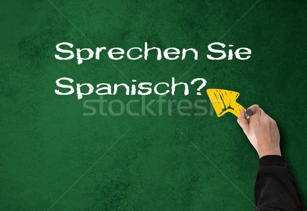 男 話す スペイン語 壁 ビジネスマン 緑 ストックフォト © fotoquique