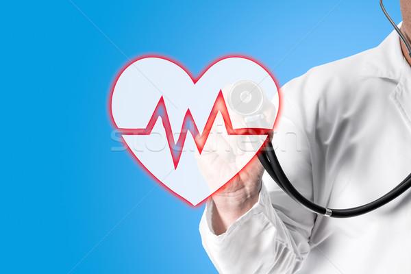 医師 聴診器 手 白 コート ストックフォト © fotoquique