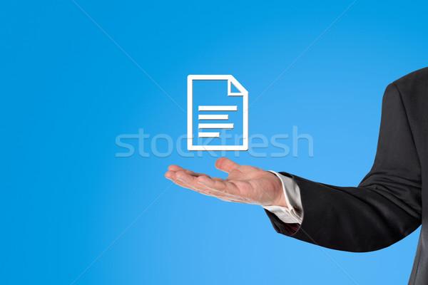 ビジネスマン バーチャル インフォグラフィック 手 青 ストックフォト © fotoquique