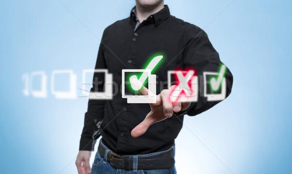 üzlet férfi virtuális lista zöld doboz Stock fotó © fotoquique