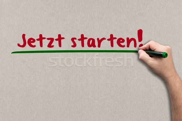 Kezdet most papír férfi ír fal Stock fotó © fotoquique