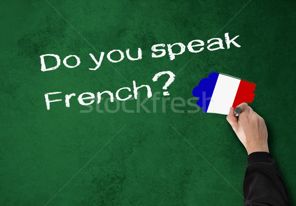 Konuşmak fransız iş adamı duvar ofis okul Stok fotoğraf © fotoquique
