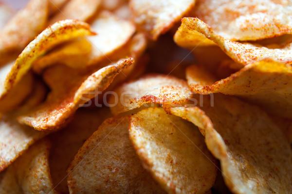 Potato chips - close up Stock photo © fotoquique