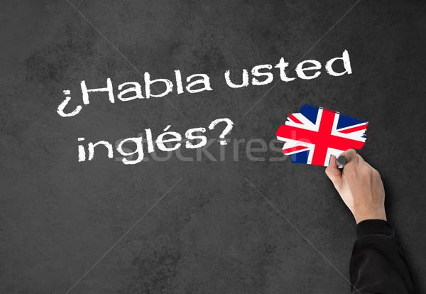 Konuşmak İngilizce iş adamı İspanyolca duvar ofis Stok fotoğraf © fotoquique