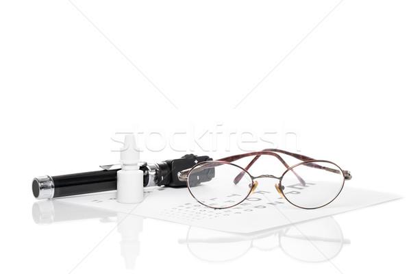 Látásvizsgálat szemüveg üveg szem cseppek előrelátás Stock fotó © fotoquique
