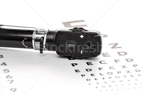 Ophthalmoscope is on a vision test Stock photo © fotoquique