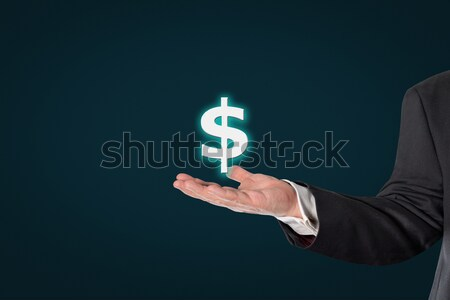 Stock fotó: üzletember · tart · dollár · ikon · sötét · kék
