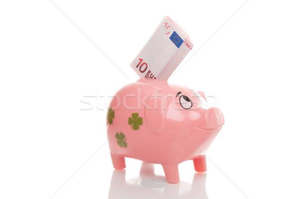 Pink money pigg with Euro Stock photo © fotoquique