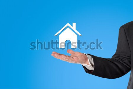 ビジネスマン バーチャル 家 シンボル 手 ストックフォト © fotoquique