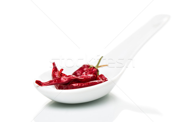 Chili (Capsicum) on porcelain spoons Stock photo © fotoquique