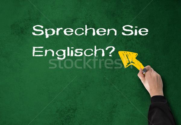 Man spreken Engels muur zakenman groene Stockfoto © fotoquique