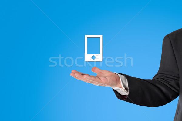 ビジネスマン バーチャル スマートフォン 手 青 ストックフォト © fotoquique