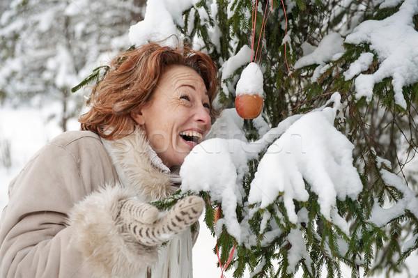 肖像 幸せ 女性 笑顔 森林 雪 ストックフォト © fotorobs