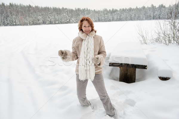 喜び 魅力的な 女性 日 森林 ストックフォト © fotorobs