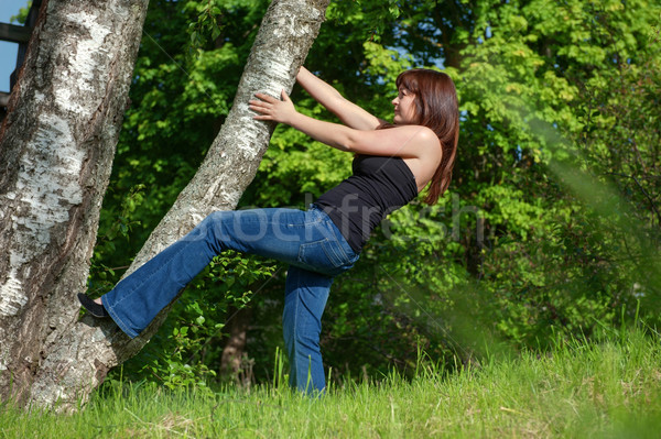 Young woman with tree. Stock photo © fotorobs
