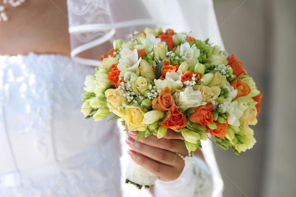 Multicolor ramo manos novia flores mano Foto stock © fotorobs