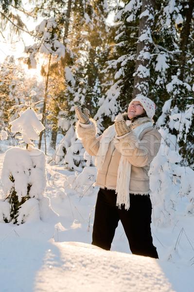 Vrouw bos gelukkig dag Stockfoto © fotorobs