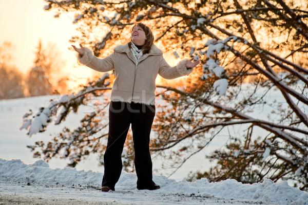 Vrouw zonsondergang gelukkig boom Stockfoto © fotorobs