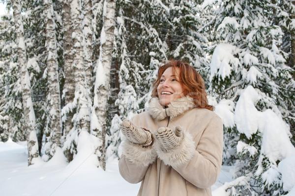 Portre mutlu kadın gün orman Stok fotoğraf © fotorobs