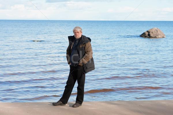 男 海 成熟した男 白髪 リラックス ストックフォト © fotorobs